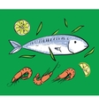 Fish and shrimps on green backgruond vector image