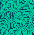 Monstera tropical leaf in a seamless pattern vector image