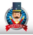 poster festival funfair host man showing vector image