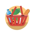 Shopping Cart with Food Design Flat vector image