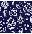 Sugar skulls seamless pattern vector image