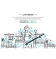 Lets rock - line design website banner vector image