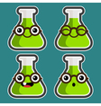 Cartoon Test Tubes with Eyeglasses vector image vector image