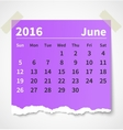 Calendar june 2016 colorful torn paper vector image