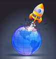 Rocket moving through the Earth vector image