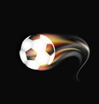 soccer ball on fire and smoke on a dark background vector image