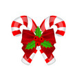 traditional christmas candy with bow and holly on vector image