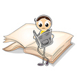 A girl reading in front of a big book vector image vector image