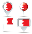 Map pins with flag of Bahrain vector image