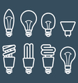 Fluorescent lamp and light bulb icons vector image