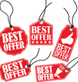 Best offer red tag set vector image
