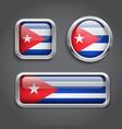 Cuba flag glass buttons vector image