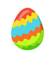 easter egg with zigzag colorful lines vector image