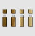 wood USB flash drive vector image