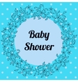 Baby shower with round floral banner blue vector image vector image