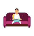 young man sitting on a sofa and meditating in vector image