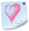 drawing of heart on sticky paper vector image