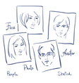 Women and men portrets sketchSet of photo frames vector image