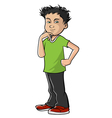 boy Asian thinking vector image vector image