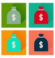 Concept flat icons with long shadow money bag vector image