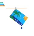 Flat design icon of photograph drying on rope vector image