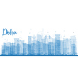 Outline Doha skyline with blue skyscrapers vector image
