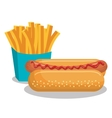 french fries and hot dog isolated icon design vector image