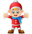 kid wearing santa costume vector image