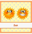 Sun funny characters on a yellow background vector image