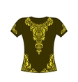 T-shirt with yellow ornament vector image
