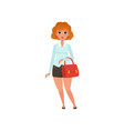 fat red-haired lady with handbag cartoon