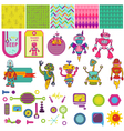 Funny Robots Theme - Scrapbook Design Elements vector image vector image
