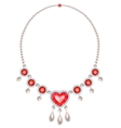 Pearl necklace with rubies vector image