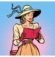 Vintage girl reading a book vector image
