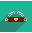 flat icon with long shadow ribbon heart leaves vector image
