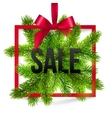 Black winter sale sign label with red ribbon and vector image