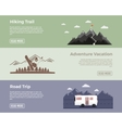 Camping flat banners set Adventure hiking vector image