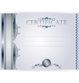 Horizontal silver certificate with a laurel wreath vector image