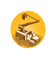 Cherry Picker Bucket Truck Access Equipment Retro vector image