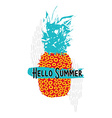 Hello summer design with colorful retro pineapple vector image