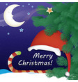 christmas card with a snowy night background vector image