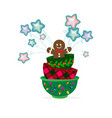christmas cookie man with cups holiday vector image