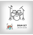Drum set isolated line art icon Music instrument vector image
