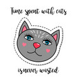 fashion patch element grey cat vector image