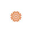 flower linear logo orange line art sun vector image