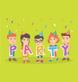 group of caucasian children celebrating the party vector image