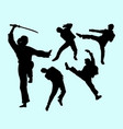 martial art male and female action silhouette vector image