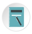 Notebook with pen icon flat style vector image