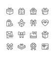 set line icons of gift vector image