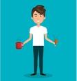 man cartoon cup food isolated vector image